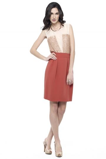 Falda lapiz coral