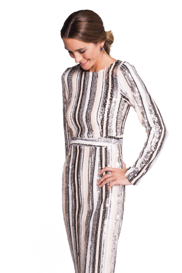 Vestido Sequins Striped