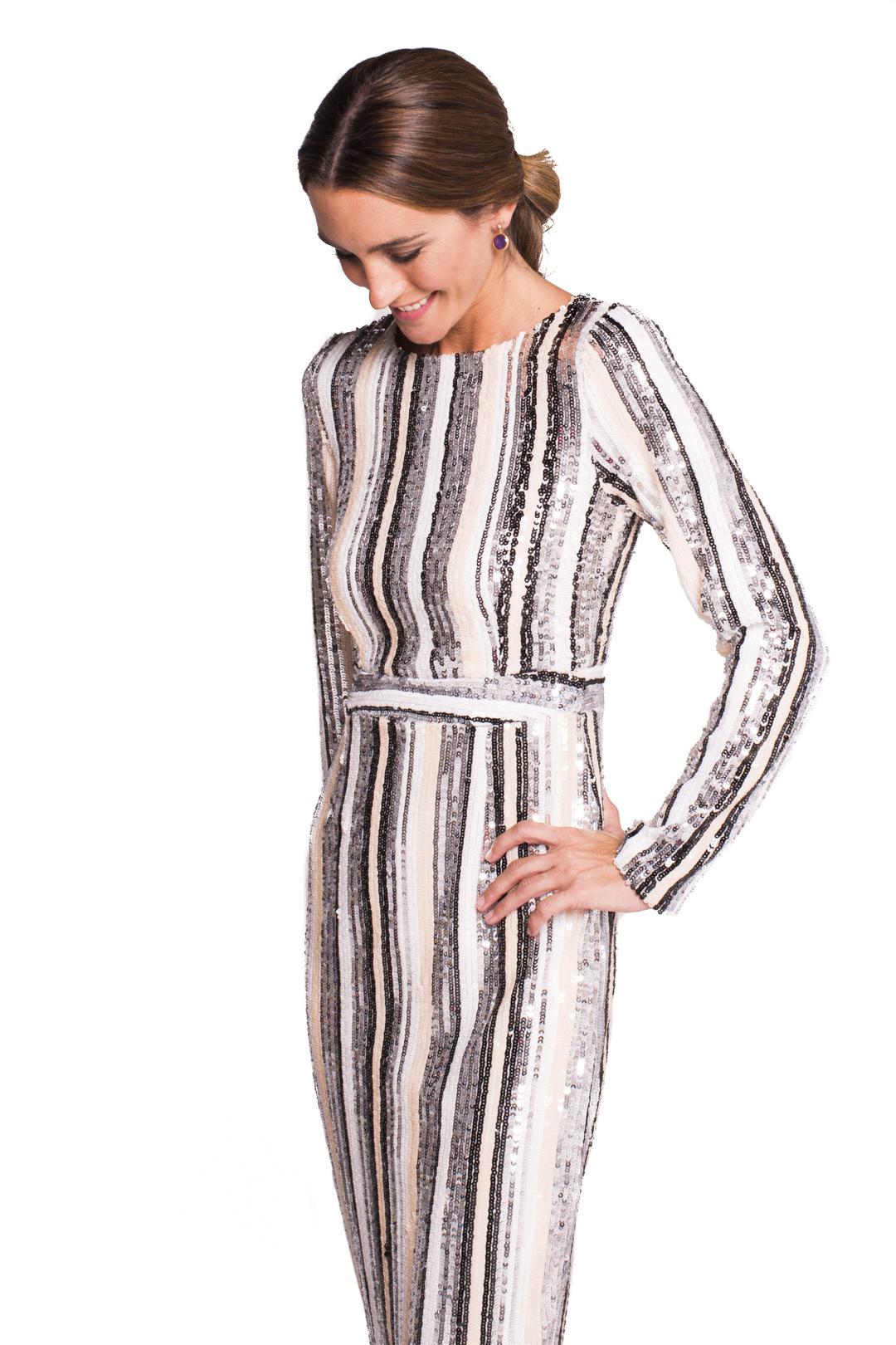 front - Vestido Sequins Striped