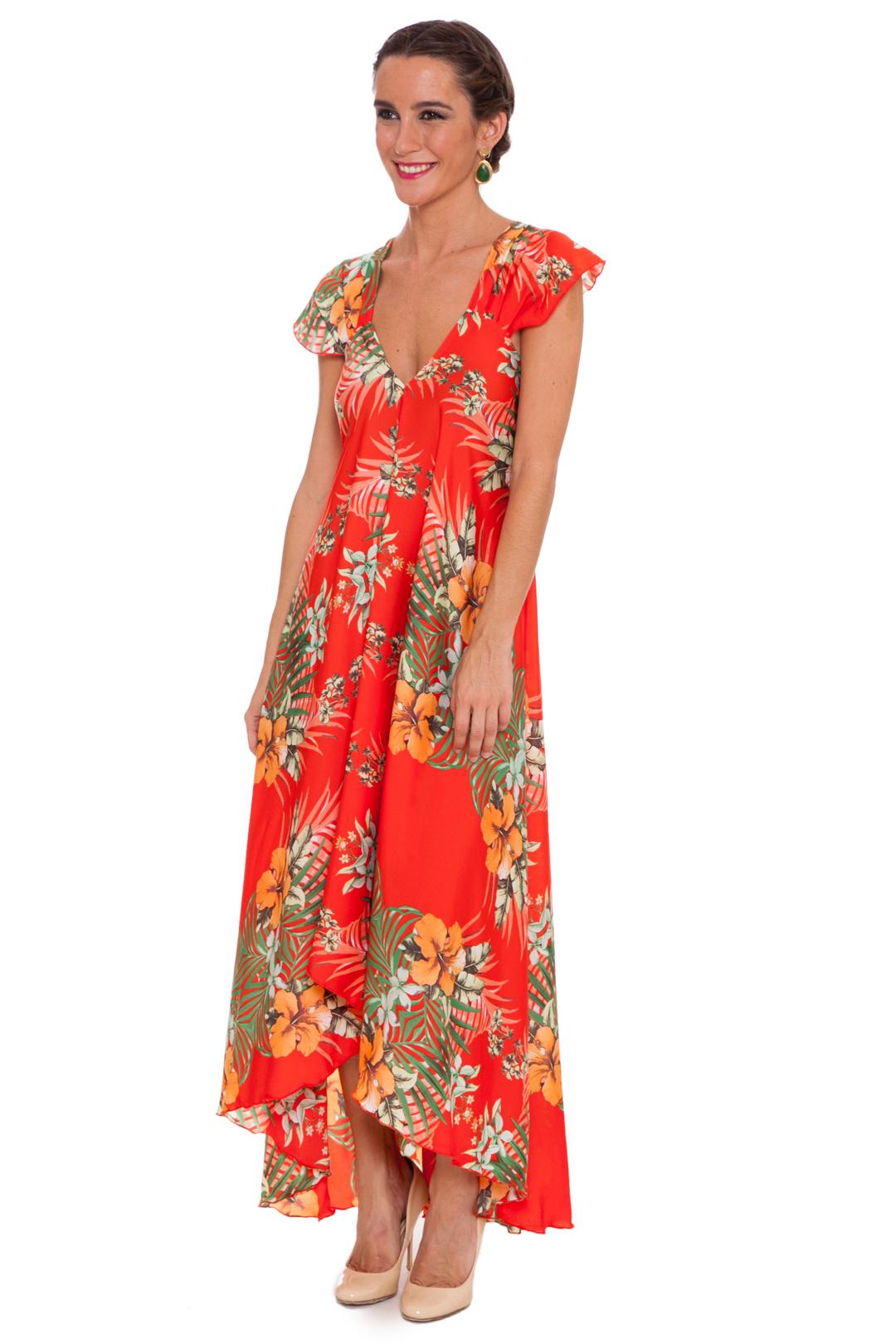 back -  Vestido Tropical Orange