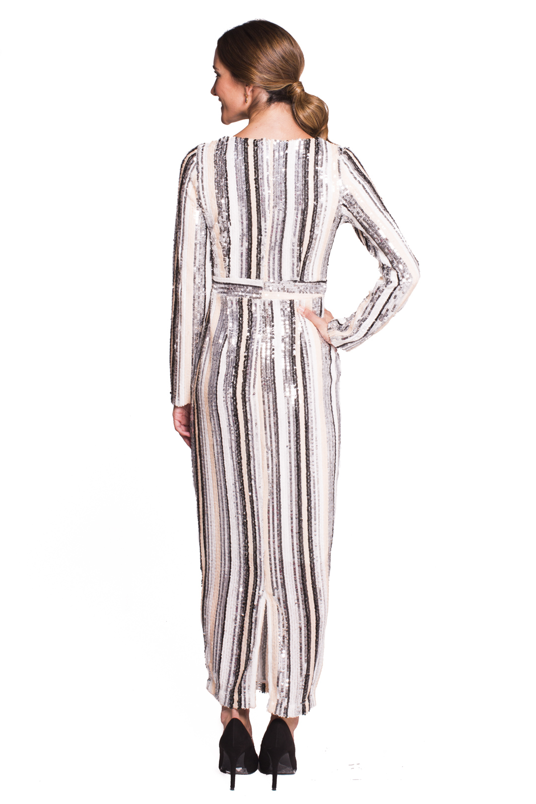 left - Vestido Sequins Striped
