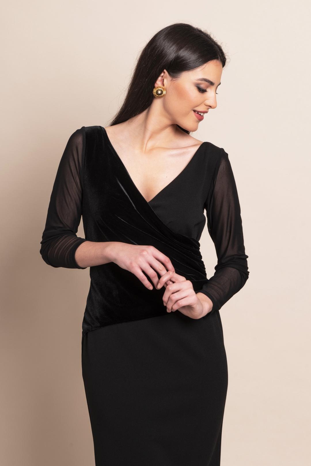 front - Vestido Black Velvet