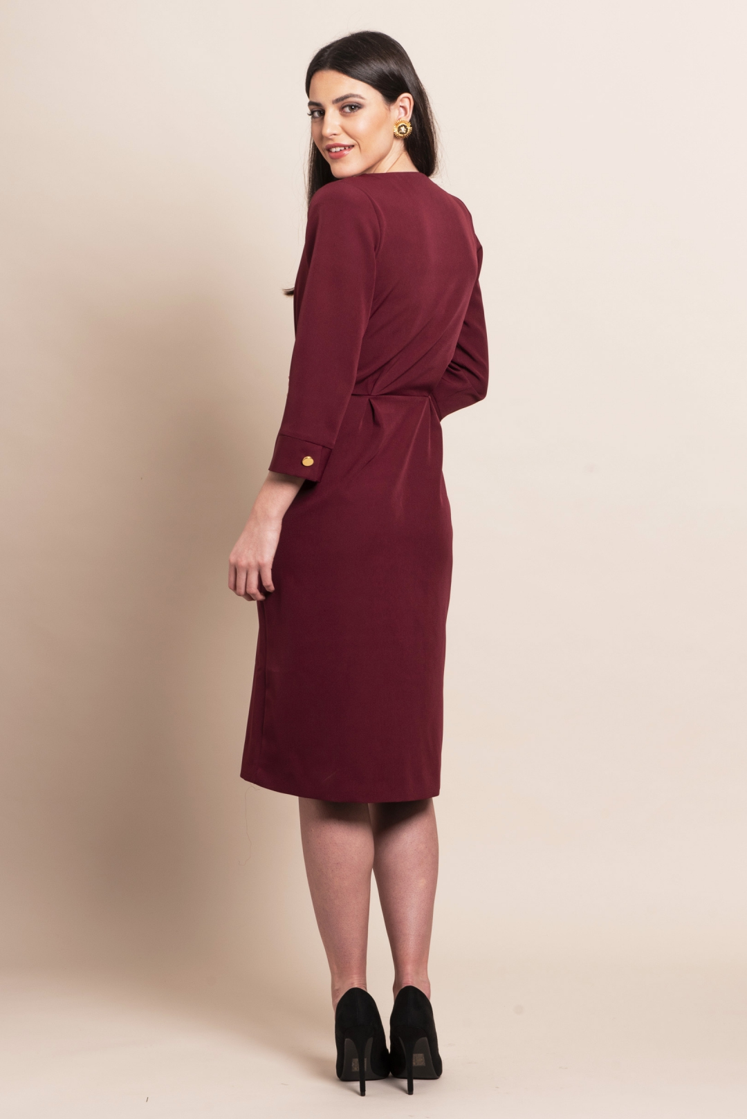 left - Vestido Escarlata Burgundy