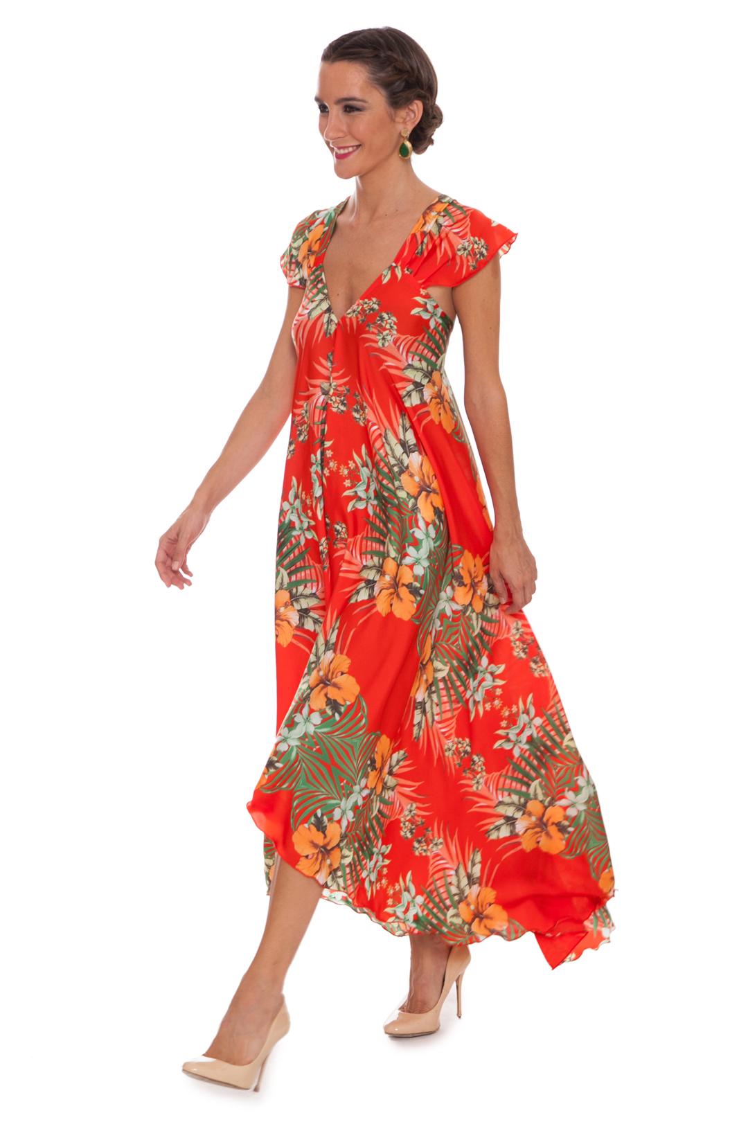 front -  Vestido Tropical Orange