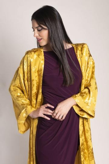 Kimono Brocado Mostaza