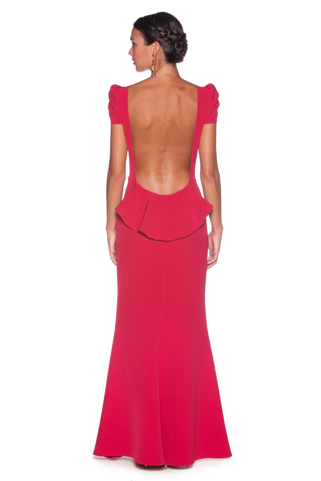 back - Vestido Fresa Peplum