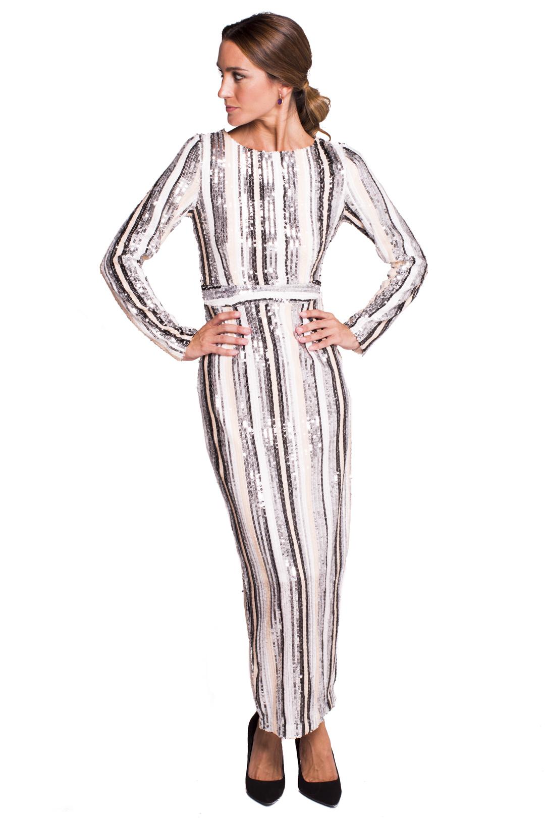 back - Vestido Sequins Striped