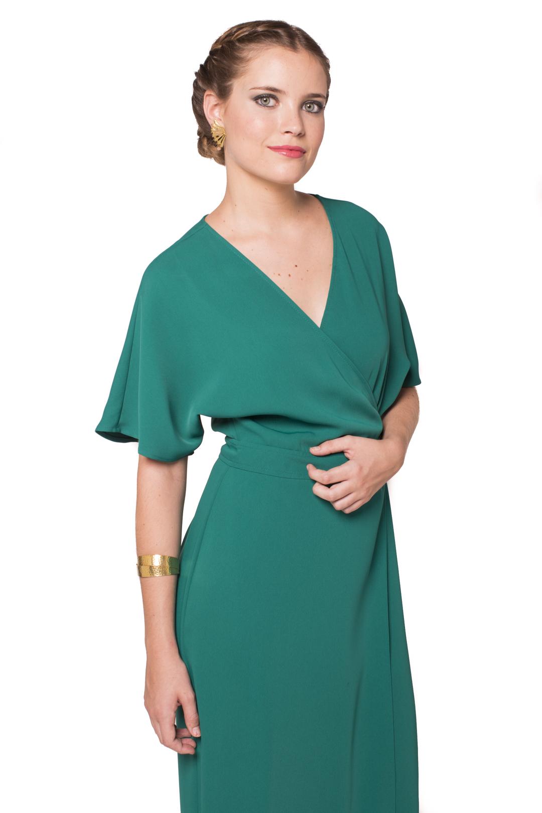Vestido Green Kimono - Alquiler de Vestidos - La Más Mona